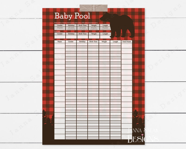 photograph about Baby Pool Template Printable called Boy or girl Pool Delivery Prediction Printable Poster Indicator Template Lumberjack Buffalo Plaid Rustic 8.5x11\