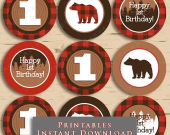 Lumberjack First Birthday Party Cupcake Toppers Buffalo Plaid 1st DIY Printable INSTANT DOWNLOAD LJ01