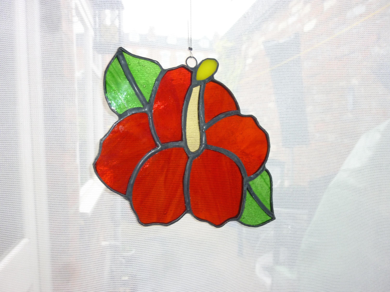 Stained Glass Hibiscus Suncatcherハイビスカスのサンキャッチャー Etsy
