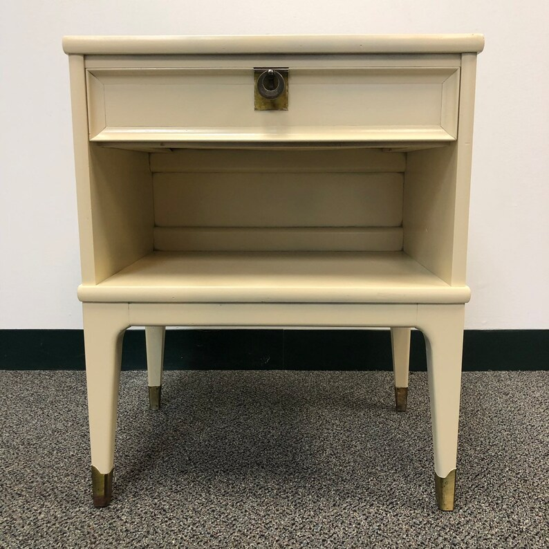 Reclaimed Mid Century Cabinet Table in Ivory Silk