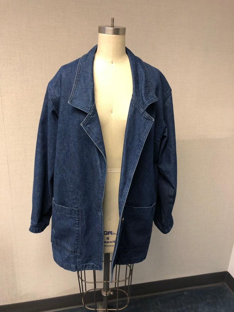 342be905c True Blue Oversized Denim Chore Jacket - Medium- Fits Most Sizes