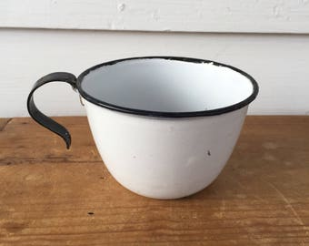 Six Piece Set Mid Century Modern Enamelware Camping Coffee / Tea Cups