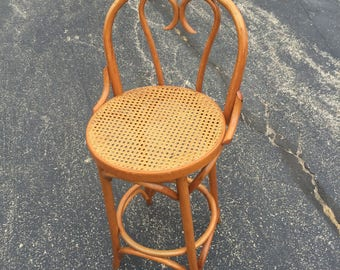 Bentwood Thonet Style Bar Stool With Caned Seat