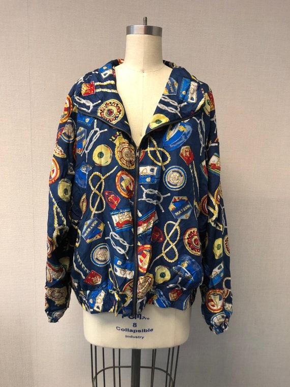 Colorful Nautical Motif Print Silk Jacket
