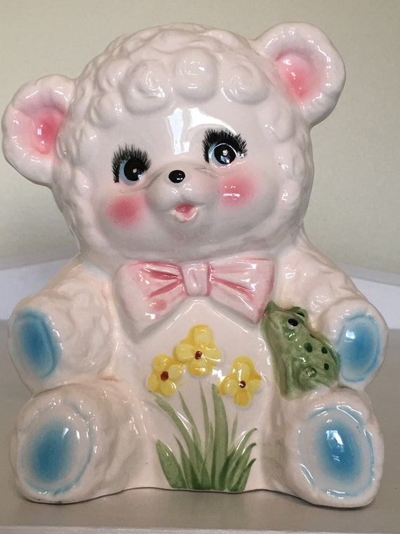 Inarco White Teddy Bear Planter Vase Baby Bear Pink Bow Tie Etsy