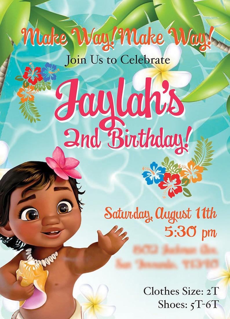 Moana Theme Birthday Invitation Baby Invites Digital