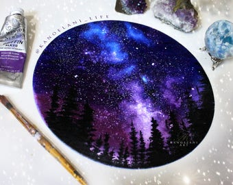 Space Art - Cosmos - Astronomy Gift - Oil Painting - Wall Art - Purple Art - Inspirational Boho Decor - Girls Room - Christmas gift - Art