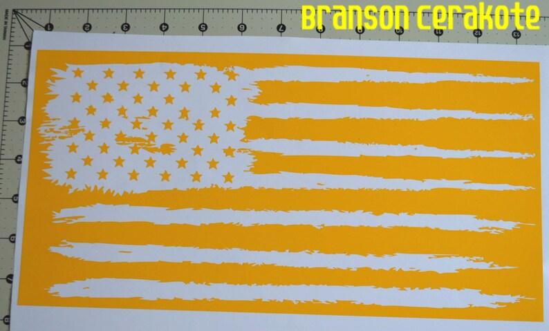 2551632a395 Tattered American Flag Stencil High Heat Vinyl Firearm Gun