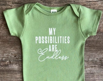 Organic Inspiration! Gender Neutral Baby Outfit, Unique Trendy Typograph, Organic Bodysuit, Organic Baby Clothes, Cute Baby Gift, Earth baby