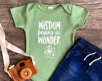 Organic Science Baby Outfit, Gender Neutral Organic One Piece, Unique Trendy Typograph, STEM Baby Gift, Positive Baby Clothes, Earth Baby