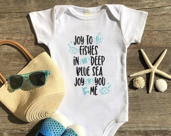 Joy to the Fishes! Organic Baby Clothes, Baby Boy, Baby Girl, Organic Infant Outfit, Unique Baby Gift, Earth Day Baby Outfit, Cute Baby Gift