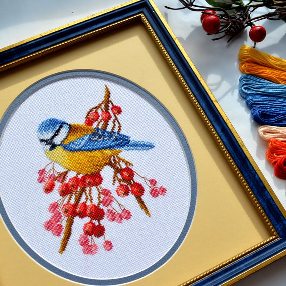 Embroidery Set with a Blue Tit Bird Counted Cross Stitch Kit /'Frosty Morning