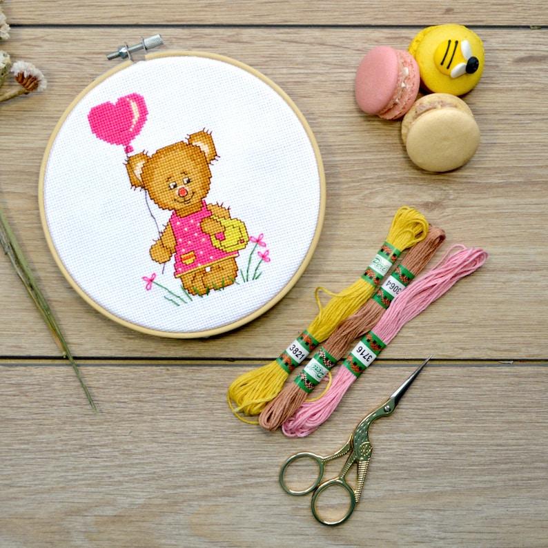 I love you Cross stitch kit Teddy Bear girl DIY Valentines gift