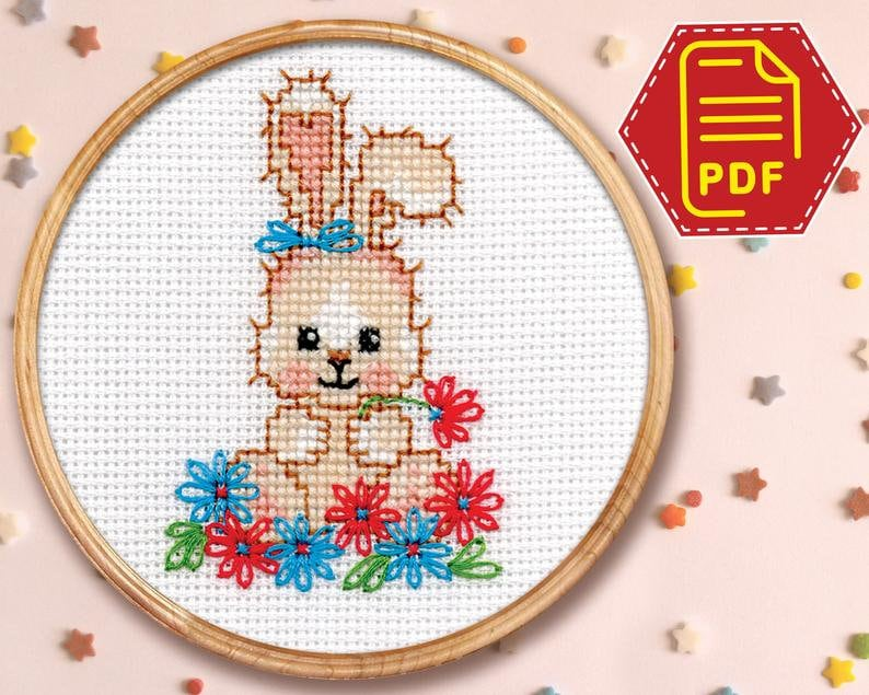 Counted cross stitch pattern cute Easter bunny in flowers  image 0