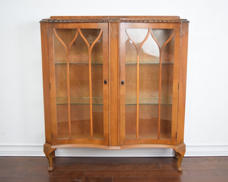 Queen Anne Glass Display Cabinet, Brown Cabinet, Farmhouse Cabinet, Wooden .