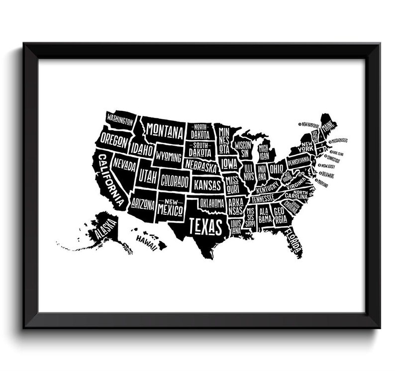 Black USA United States White Text Map Word Cloud Typography Poster Print  Country Modern Abstract Minimalist Landscape Wall Art Painting