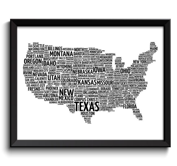 INSTANT DOWNLOAD USA United States Map Typography Print Text Word Cloud  Black White Poster Print United States Modern Landscape Wall Art