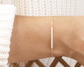 LORE Bracelet • Pearl Bar Bracelet • Delicate Beaded Bracelet, Simple Pearl Bracelet, Wedding Jewelry, Layering Bracelet, Dainty Bracelet