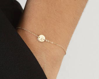 MIA Bracelet • 6mm Disc Bracelet • Tiny Initial Bracelet, Dainty Disc Bracelet, Engraved Disc Bracelet, Personalize Delicate Bracelet, Gift