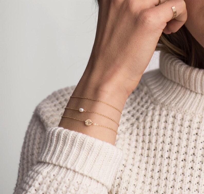 ARIA Bracelet  Tiny Oval Pearl Bracelet  Layering Bracelet image 1