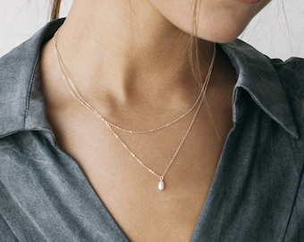 ARIA Set • Pearl Drop Necklace and Simple Chain Necklace Set • Tiny Freshwater Drop Pearl Necklace • Basic Thin Chain • Layered Necklace •