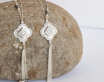 CAMI Necklace • Tassel Necklace • Long Boho Necklace, Statement Necklace, Bohemian Necklace, Unique Long Necklace, Silver Pendant Necklace