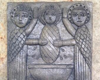 BRIG-001-Gray Saint Brigid's Baptism/Celtic/Irish/Religious/Saint/Carved/Icon/Plaque
