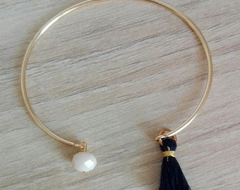 """Bangle Bracelet """"Lili"""" gold plated with blue tassel Navy and nude beads"""