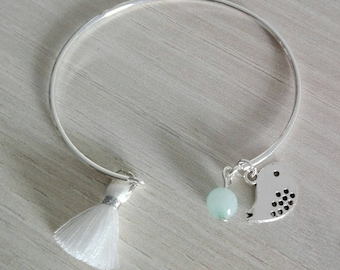 Thin silver with white sequin bird and water green bead tassel bracelet
