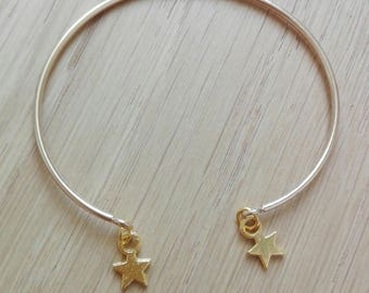 "Bangle Bracelet ""Lili"" plated gold with gold stars"