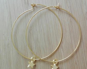 Hoop, thin, Star pendant