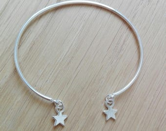 "Silver Bangle Bracelet with Silver Star ""Lili"""