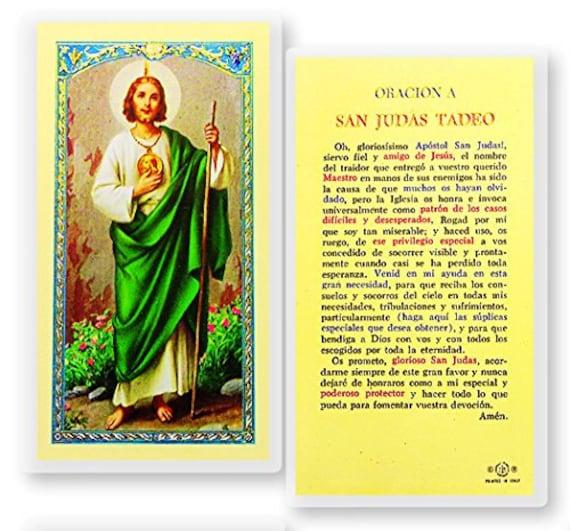 St San Judas Tadeo Patrono De Lo Imposible Tarjeta De Hc 247sp Etsy