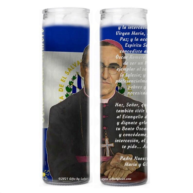 San Oscar Arnulfo Romero  Salvadoran Roman Catholic archbishop Patron de el Salvador Comunicadores Cristianos Set de 2  o 4 Velas
