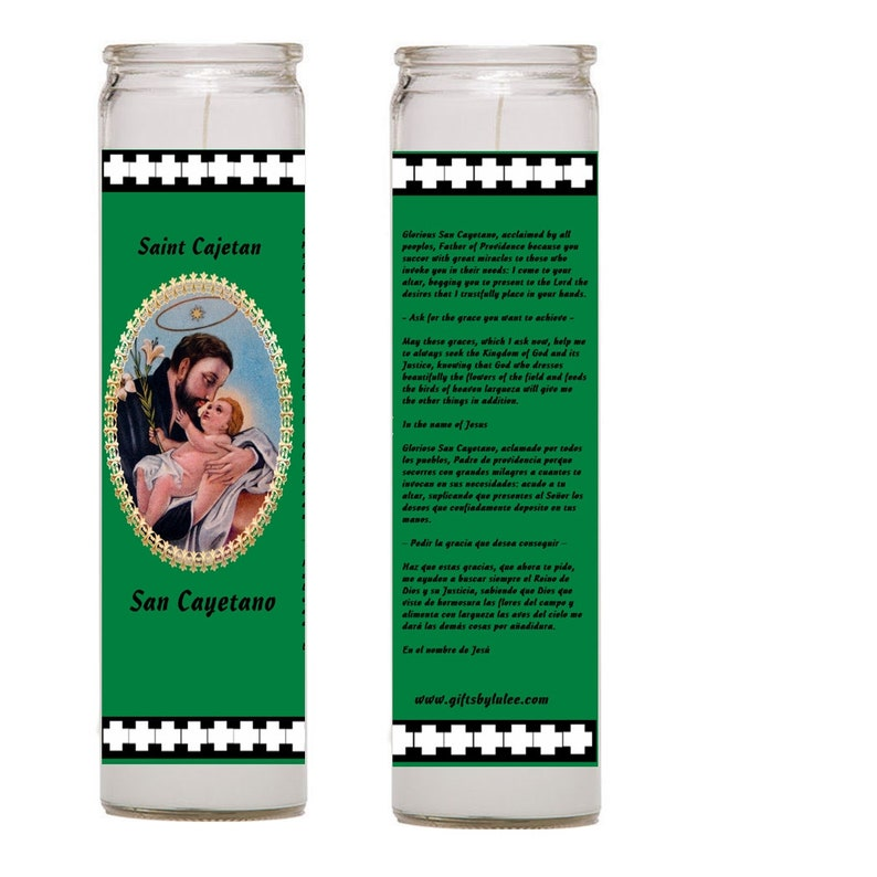 St Cayetano Saint Cajetan 2 Candles Set patron of Argentina unemployed  gamblers document controllers gamers good fortune