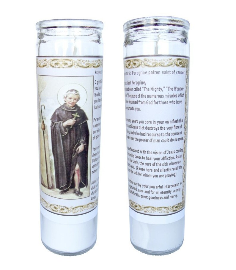St Peregrine Patron Saint of Cancer Victims Set of 2 Candles with Prayer in  the Back (V-peregrine)