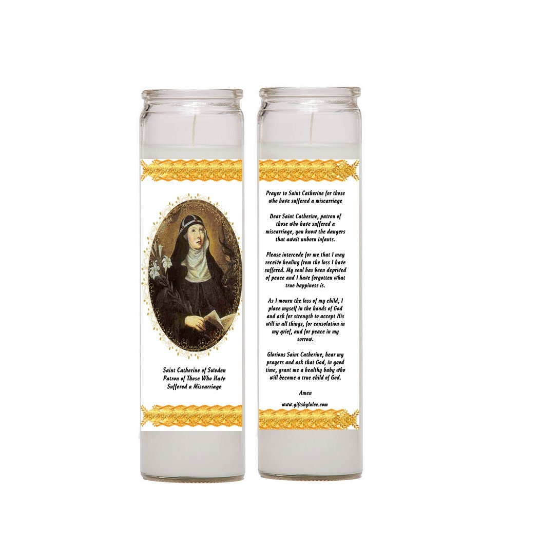 Saint Catherine of Sweden Set of Two Candles Prayer Comfort