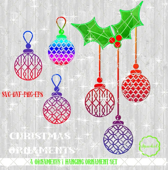Hanging Christmas Ornaments Silhouette.Christmas Ornaments Svg Hanging Christmas Balls With Holly Swag Patterned Filigree Ornament Set Of 3 Use With Cricut Or Silhouette