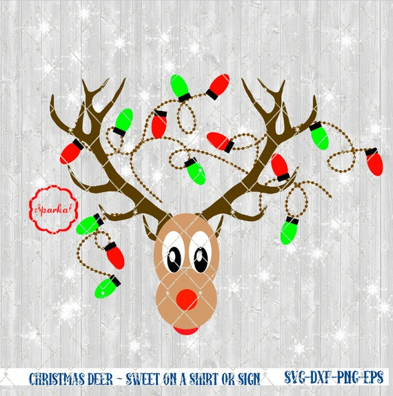 Christmas Lights Silhouette Png.Reindeer With Christmas Lights In Antler Svg File Cut Files Vector Clipart For Holiday Decorating Cricut Silhouette Cutting File Design