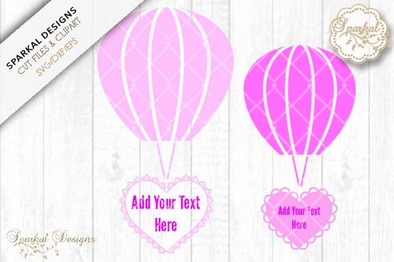 Hot Air Balloons With Filigree Hearts Cutting File Svg Dxf Eps Etsy