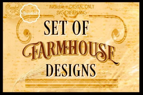 Vintage Farmhouse Set Of 7 Stencil Quotes Digital Cutting Etsy