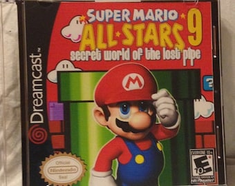 Super Mario All Stars 9 Secret World of the Lost Pipe Custom Sega Dreamcast Game.