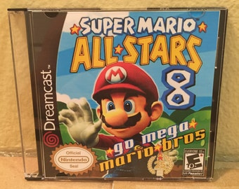 Super Mario All Stars 8 Go Mega M Bros Custom Sega Dreamcast Game.