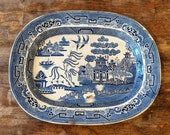 Vintage Antique 1840 Blue Willow Transferware Platter Impressed Crown Staffordshire UK Serving Display Pottery Stoneware