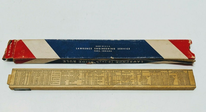 Vintage Lawrence Slide Rule Peru Indiana Model 10-B With Box Included K Scales