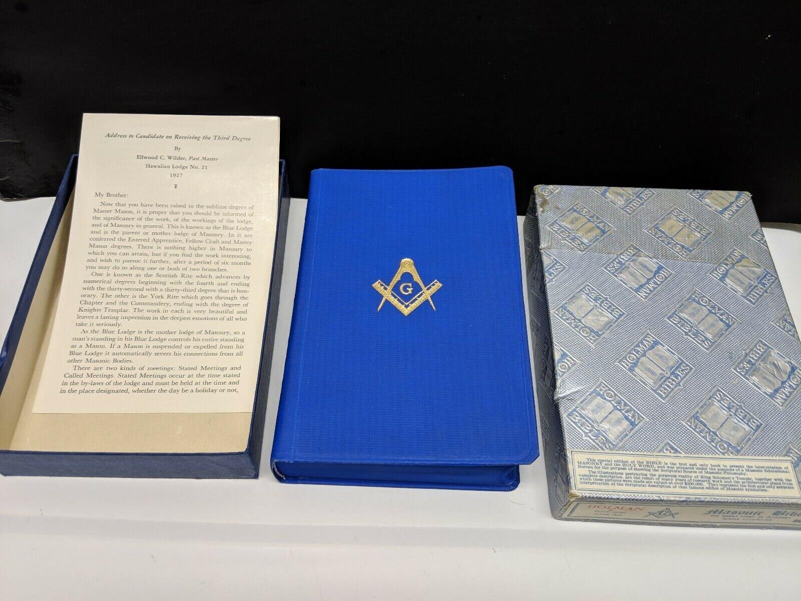 MASONIC BIBLE Holman King James Version Blue in Original Box Vintage 1957  Signed