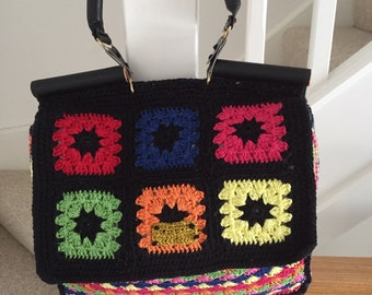 Crochet Granny Square Multicolour Handbag