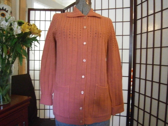Womens Coral Cardigan - Shirt Collar-1970's