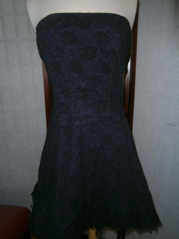 Women's Black and Purple Lace Corset Dress