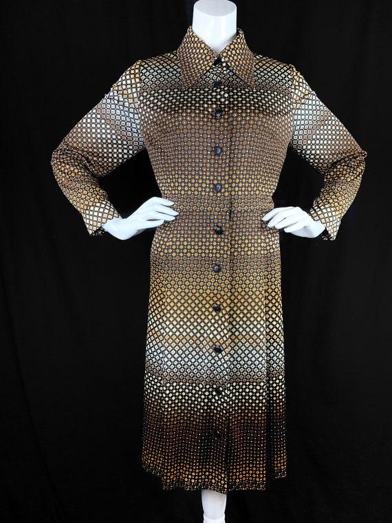1970s Shirt Dress With Dagger Collars and Geometri